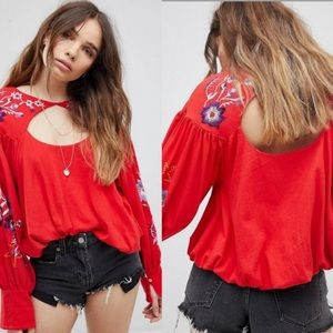 Free People Lita Red Embroidered Bubble Blouse
